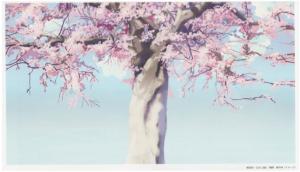 """Figura 1: Imagen de un escenario de """"A cinco centímetros por segundo) extraída del art book  """"The Sky of The Longing for Memories""""."""