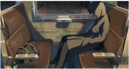 Figura 2: Imagen de Takaki en el tren viajando para visitar a Akari de clases.