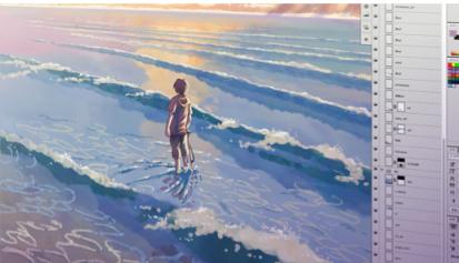 Figura 6: Imagen del trabajo en Adobe Photoshop, extraída de la página oficial de Makoto Shinkai